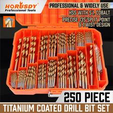 "250pcs HSS Drill Bit Set Titanium Coated for Wood Plastic Metal 3/64"" to 1/2"""