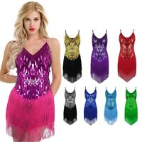 1920s Flapper Gatsby Party Charleston Fringe Sequin Women's Latin Dance Dress