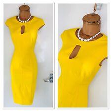 KAREN MILLEN Yellow Pencil Dress With Keyhole Neckline Uk Size 8-10