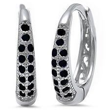 Black Cz  .925 Sterling Silver Hoop Earring