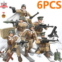 6pcs WW2 Military Soldiers US USSR Russian Army + Weapon Fit  Minifigures