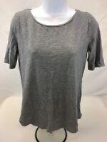 LOFT Women's Gray Heathered Short Sleeve Casual Crew Neck T-Shirt Sz S