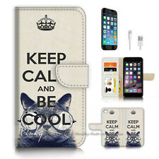 ( For iPhone 7 Plus ) Wallet Case Cover P3204 Keep Calm Be Cool
