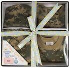Camo Military Newborn Baby Gift Set Infant Army Blanket Cap Bib Bodysuit Unisex