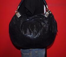 EUC HALOGEN Black Textured Suede Leather Slouch SHIMMER Tote Purse Shoulder Bag