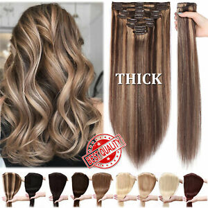 CLEARANCE 170G+ Double Weft Human Hair Extensions THICK Clip in Real Remy Hair H