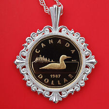 1987 Canada Loonie 1 Dollar Gem BU Proof Coin Solid 925 Sterling Silver Necklace