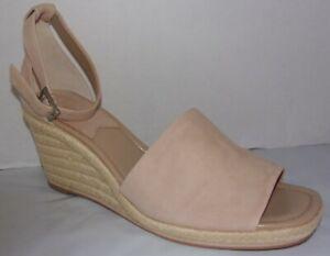 New Enzo Angiolini Petrina Beige Leather Espadrille Wedge Sandals 10 M