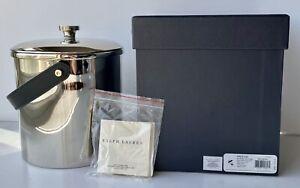 NEW Ralph Lauren Preston Stainless Silver Ice Bucket Black Leather Strap Handle