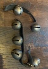 Vintage Antique Sleigh Bells Horse Heavy Leather Strap As Is