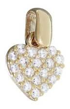 Kleines Herz Gold 585 / 14 Karat Anhänger Goldherz mit Zirkonias Herzchen