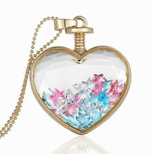 Romantic Heart Colourful Stars Perfume Bottle Pendant Necklace N384