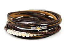 Pearl Leather Wrap Costume Bracelets