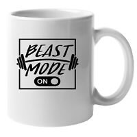 Beast Mode On (8) Gym Pride Mug, Weightlifting Gift, 10 0z Ceramic workout Cup