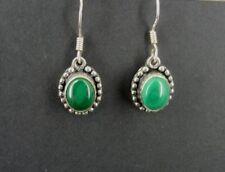 Malachite Green Stones Drop Dangle Sterling 925 Silver Pierced Earrings