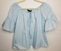 New~Vertigo Blue Peasant Blouse Shirt Ruffle Boho Top~Size XS MSRP $148