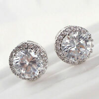 Women's White Gold Plated Crystal Zircon Inlaid Ear Stud Earrings Jewelry Hot