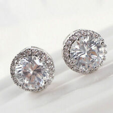 Inlaid Ear Stud Earrings Jewelry Hot Women's White Gold Plated Crystal Zircon