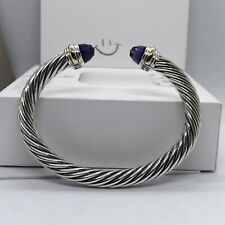 David Yurman 7mm Amethyst Cable Bracelet with Pouch & Free Shipping