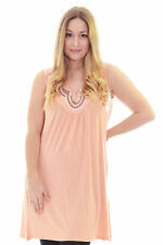 New Womens Top Ladies Stud Neck Tunic Sleeveless Vest Summer Plus Size Nouvelle