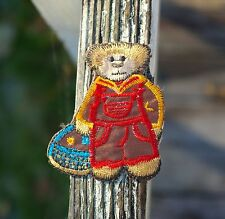 """Brown Teddy Bear Boy Red Overalls Blue Basket Embroidered Patch 2 3/4"""" x 2 1/4"""""""