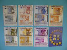 8 PostCards, Postkarten, Euro Banknoten, Münzen, Set, Lot, Konvolut, Sammlung
