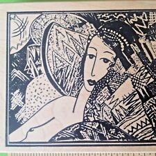 JAPANESE Sketch  WOMAN Art Collage ASIAN FANS LADY JAPAN Rubber Stamp Francisco