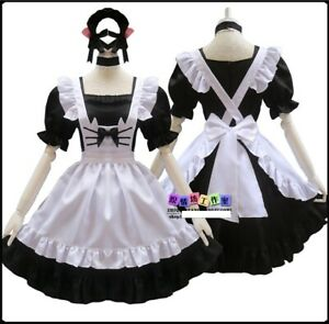 black, Size S tzm2016 Womens Lolita French Maid Cosplay Costume 4 pcs as a set including dress; headwear; apron; fake collar