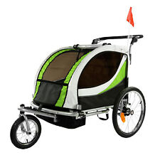 ClevrPlus Deluxe 3-in-1 Double Seat Bike Trailer Stroller Jogger for Kids, Green