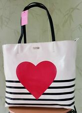 KATE SPADE YOURS TRULY HEART STRIPE HALLIE TOTE BAG:NWT HEART TOTE