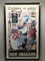 Vintage Framed New Orleans Jazz Poster Cooking with Jazz Meiersdorff Louisiana