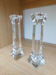 Stunning Pair of Contemporary Glass Candlesticks 19cm
