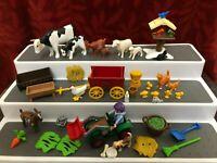 Various Playmobil Geobra Farm Animals Cart Digger Bundle