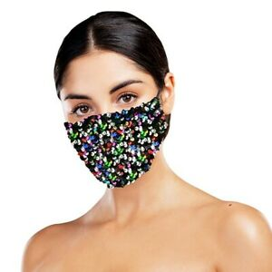 Dazzle - Multi Colour - Face mask with sequins - Party Face Mask /Face Covering