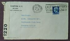 Italy 1939 Commercial Censored Cover from Milan to London, Lottery Slogan Cancel