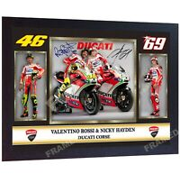 Valentino Rossi signed Nicky Hayden autographed photo print superbikes Framed