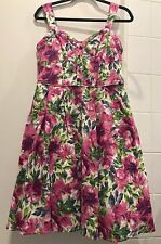 FLORAL PRINT FORMAL PINK COUTURE SWING DRESS PINUP 50'S SIZE 12 14