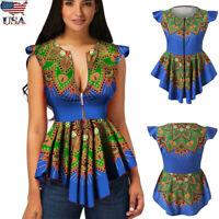 Women Summer Vest Tank Zipper African Print Tunic Sleeveless T Shirt Tops Blouse