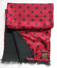VINTAGE SCARF THINLY LINED RETRO MOD 1960s 1970s RED BLACK POLKA DOT SPOT DUGGIE