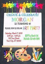 ART PARTY CUSTOM PRINTABLE BIRTHDAY PARTY INVITATION & FREE THANK U CARD