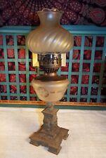 Antique Oil Lamp - Manhattan Brass Co - Cast Metal And Glass - Victorian