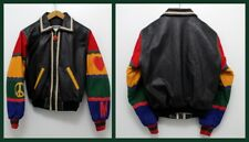 Retro 1980s Rare Moschino Jeans Peace & Love Vintage Leather Wool Bomber Jacket