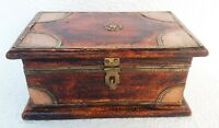 Wooden Box Vintage Old Hand Made Brass Fitted Trinket Jewelry Storage Box Art