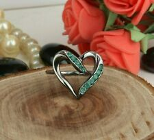 Emerald Gemstone Black Rhodium 925 Silver Heart Shape Designer Ring Jewelry