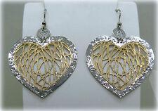 Orecchini cuore pendente in argento 925 centro placcato oro rosè