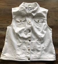 Christopher & Banks Women's Denim Vest With Lace Detailing White Size Large