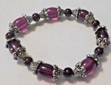 Vintage Clear Purple, Black & Silver Tone Beads Stretch Bracelet