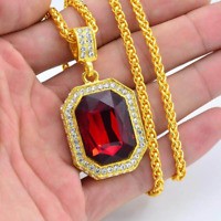 """Mens Hip Hop 14k Gold Plated Simulated Red Ruby Pendant with 24"""" Popcorn Chain"""