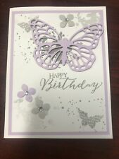 """Stampin Up Card Kit Set Of 4 """"Happy Birthday"""" Lavender Butterfly"""