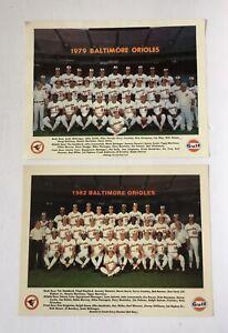 """LOT OF 2 BALTIMORE ORIOLES TEAM PHOTOS - 1979 & 1982 - 14""""x11"""" - RIPKEN, MURRAY"""